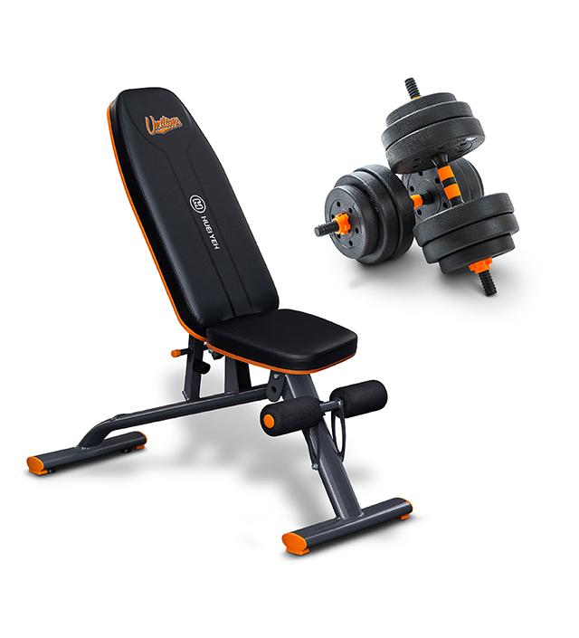 (預購)環保槓鈴啞鈴兩用組 (40kg)+多功能重訓椅統一7-ELEVEN獅聯名款